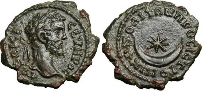 """Ancient Coins - Septimius Severus """"Crescent & Star"""" Moesia Nicopolis EF"""