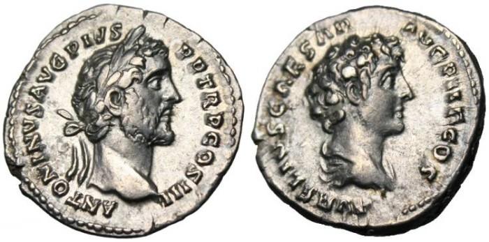 """Ancient Coins - Antoninus Pius & Marcus Aurelius, AR Denarius """"Busts"""" EF RIC 417a"""