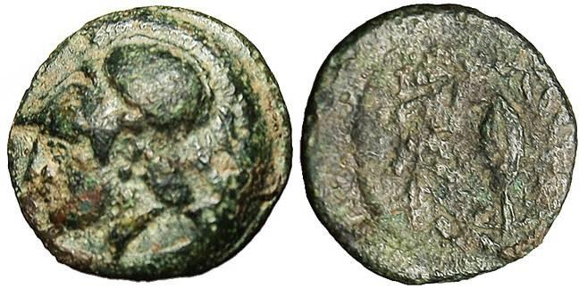 """Ancient Coins - Aeolis, Elaia """"Athena & Barley"""" VF 340-300 BC"""