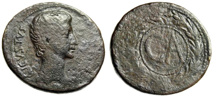 """Ancient Coins - Augustus AE Sestertius """"CA Legend in Dots & Wreath"""" Mysia Pergamon RIC 501"""