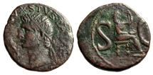"Ancient Coins - Divus Augustus AE As ""Radiate Posthumous Bust & Livia Enthroned SC"" RIC 72 VF"