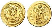 """Ancient Coins - Justinian I Gold Solidus """"Angel Facing"""" Constantinople SB 140 Exceptional MS"""