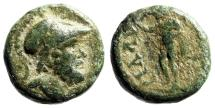 "Ancient Coins - Pamphylia, Sillyon AE13 Helmeted Ares & Male Figure, Hand Raised"" Rare"