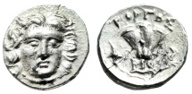 "Ancient Coins - Caria, Rhodes (Rhodos) Silver Drachm ""Helios Facing & Rose, Torch"" Rare Good VF"