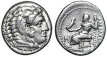 "Ancient Coins - Alexander III The Great AR Drachm Lifetime Issue ""Herakles & Zeus"" Miletos VF"