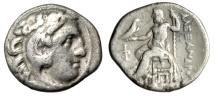 "Ancient Coins - Alexander III The Great AR Drachm ""Herakles & Zeus, Phi & Pi"" Kolophon gF"