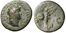 "Ancient Coins - Nero AE As ""Victory Flying, SPQR Shield"" Rome RIC 312 nVF"