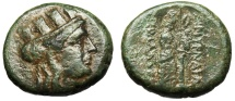 """Ancient Coins - Ionia, Smyrna AE19 """"Head of Kybele (Tyche) & Aphrodite Nike"""" BMC 20 Green Patina"""