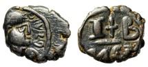 "Ancient Coins - Maurice Tiberius AE 12 Nummi ""Cross Between I-B"" Alexandria SB 544 VF Scarce"