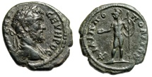 "Ancient Coins - Septimius Severus AE19 ""Ares With Patera & Shield"" Thrace, Philippopolis gVF"