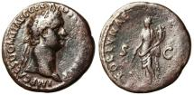 "Ancient Coins - Domitian AE As ""Fortuna With Rudder & Cornucopiae"" Rome RIC 707 aVF"