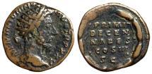 """Ancient Coins - Marcus Aurelius AE Dupondius """"PRIMI DECEN NALES COS III SC Wreath"""" RIC 1008 gF"""