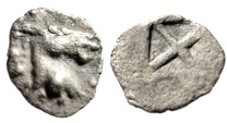 "Ancient Coins - Macedonia, Mende AR Hemiobol ""Head of Ass & Incuse Square"" 480-460 BC Scarce"