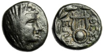 "Ancient Coins - Boeotia, Thespiae AE14 ""Veiled Female (Arsinoe III?) & Chelys (Lyre)"" Scarce gVF"