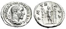 "Ancient Coins - Maximinus I Thrax Silver Denarius ""Emperor, Standards"" Rome 235 AD RIC 1 EF"