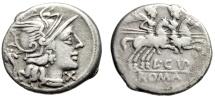 """L Cupiennius AR Denarius """"Roma, Cornucopiae & Dioscuri"""" 147 BC Very Fine"""