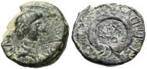 "Ancient Coins - Augustus AE Semis ""Diadem, REX PTOL Within"" Spain Carthago Nova Scarce"