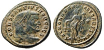 "Ancient Coins - Constantius I Chlorus Caesar Follis ""Moneta with Scales' Rome RIC 106a Desert"