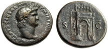 "Ancient Coins - Nero AE Sestertius ""Decorated Triumphal Arch, Mars Statue"" RIC 143 aVF"