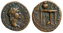 """Ancient Coins - Nero AE Semis """"Table, Two Gryphons, Urn, Wreath, Shield"""" RIC 242 Very Rare VF"""