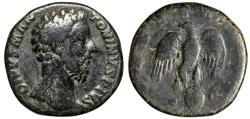 """Ancient Coins - Marcus Aurelius AE Posthumous Sestertius """"Eagle Standing on Globe"""" RIC 654"""