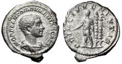 "Ancient Coins - Diadumenian AR Denarius ""PRINC IVVENTVTIS Standards"" RIC 108 Good VF"