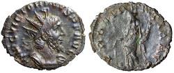 "Ancient Coins - Victorinus Billon Antoninianus ""Providentia, Globe"" 268-271 AD RIC 61 VF"