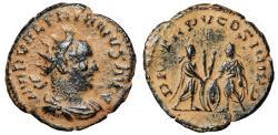 "Ancient Coins - Valerian I Billon Antoninianus ""Two Emperors, Military Gear"" Antich 257 AD"