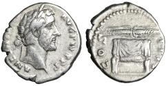 "Ancient Coins - Antoninus Pius AR Denarius ""Thunderbolt on Garlanded Altar"" Rome RIC 137"