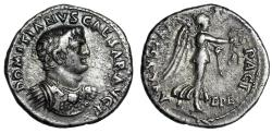 "Ancient Coins - Domitian as Caesar AR Denarius ""PACI AVGVSTAE Victory"" Ephesus Rare Good VF"