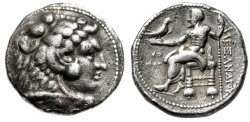"Ancient Coins - Alexander III The Great AR Tetradrachm ""Herakles & Zeus"" Tyre, Menes 325/4 BC"