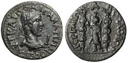 "Ancient Coins - Gallienus AE32 of Perga (Perge) Pamphylia ""Serapis, Two Standards"" Very Rare EF"