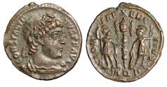 "Ancient Coins - Constantine II ""GLORIA EXERCITVS Soldiers, Palms"" Aquileia RIC 19 Rare Near EF"