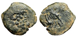 """Ancient Coins - Cleopatra III to Ptolemy X AE22 """"Zeus Ammon & Two Eagles, Isis Headdress"""" Rare"""