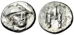 "Ancient Coins - Thrace, Ainos Silver AR Drachm ""Hermes Facing & Enthroned Caduceus"" Very Rare EF"
