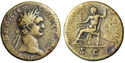 "Ancient Coins - Domitian AE Sestertius ""IOVI VICTORI SC Jupiter Enthroned"" 95-96 AD Rome Fine"