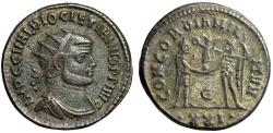 "Ancient Coins - Diocletian AE Radiate ""CONCORDIA MILITVM Jupiter"" Heraclea RIC 284 Good VF"