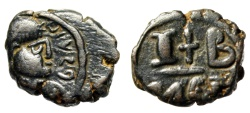 "Ancient Coins - Maurice Tiberius AE 12 Nummi ""Cross Between I-B"" Alexandria SB 544 VF Scarce"