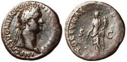 "Ancient Coins - Domitian AE As ""Fortuna With Rudder & Cornucopiae"" Rome RIC 707 aVF"
