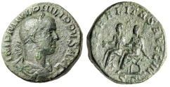 "Ancient Coins - Philip II AE Sestertius ""LIBERALITAS AVGG II Seated With Father"" Rome RIC 267a nVF"