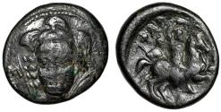 "Ancient Coins - Thessaly, Pharsalos AE21 ""Athena, Spear & Shield / Horseman, Soldier"" Scarce"