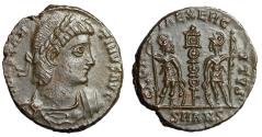 "Ancient Coins - Constantine II AE15 ""GLORIA EXERCITVS Soldiers, One Standard"" Antioch RIC 40 EF"