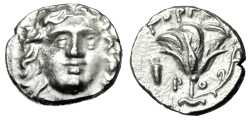 "Ancient Coins - Islands off Caria, Rhodes Silver Drachm ""Helios & Rose, Bowcase"" Gorgos Nice EF"