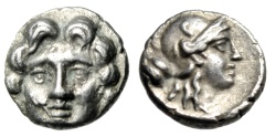 "Ancient Coins - Pisidia, Selge AR Obol ""Facing Gorgoneion (Gorgon) & Athena, Astragalos"" EF"