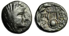 """Ancient Coins - Boeotia, Thespiae AE14 """"Veiled Female (Arsinoe III?) & Chelys (Lyre)"""" Scarce gVF"""