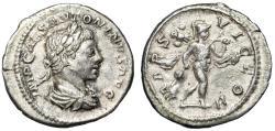 "Ancient Coins - Elagabalus AR Denarius ""MARS VICTOR Mars, Trophy & Spear"" RIC 121b VF"