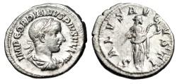 """Ancient Coins - Gordian III Silver Denarius """"Salus Feeding Snake"""" Rome 241 AD RIC 129a gVF"""