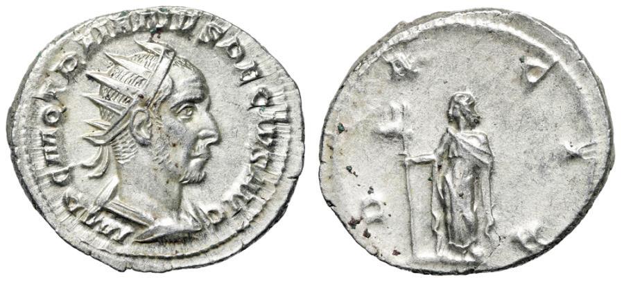 "Ancient Coins - Trajan Decius AR Antoninianus ""DACIA Dacia, Ass' Head Standard"" RIC 12b EF"