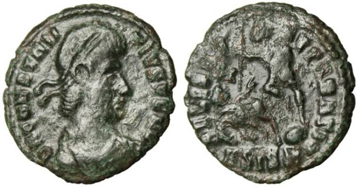"Ancient Coins - Constantius II AE3 ""FEL TEMP REPARATIO Spearing Horseman"" Siscia VF"