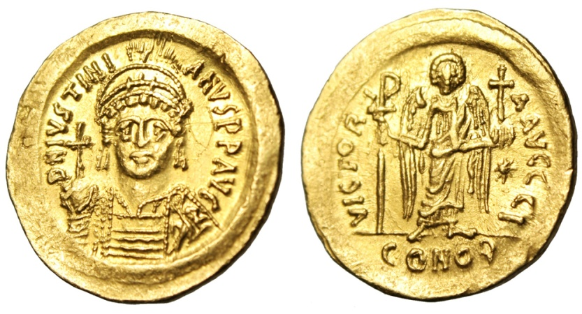 "Ancient Coins - Justinian I Gold Solidus ""Angel Facing"" Constantinople SB 140 Exceptional MS"